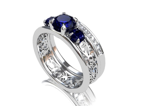 engagement ring set blue sapphire Filigree ring diamond