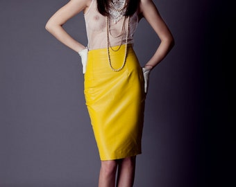 La Lune genuine leather skirt