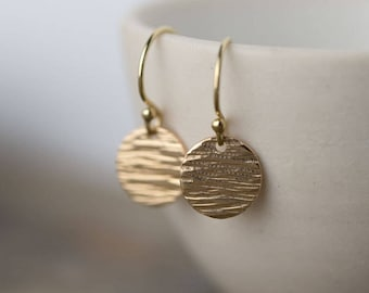 Textured Gold Fill Earrings, Gift for Women, Earrings for Women, Gift for Her, Handmade Jewelry by Burnish