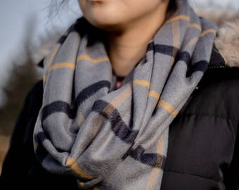 Grey-black-mustard windowpane plaid infinity scarf