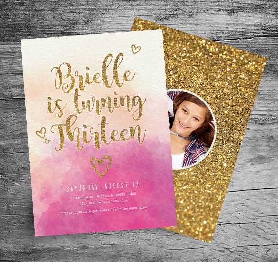 13th Birthday Party Invitation 5x7 Watercolor Gold