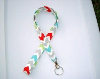 Lanyard - Key Chain / ID Holder  with Swivel Clasp and Key Ring- Twill Harmony Chevron - Zig Zag