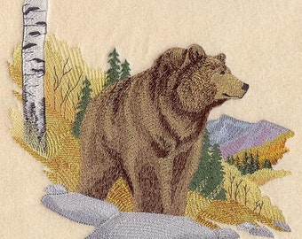 AUTUMN GRIZZLY ---Machine Embroidered Quilt Block (AzEB)