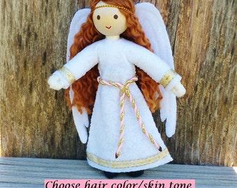 Angel Doll  - Guardian Angel Doll - Bendy Doll - light brown Hair - Angel - Christmas Angel - Kindness Tradition