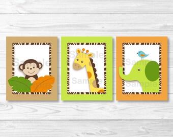 Cute Jungle Animal Nursery Wall Art / Safari Nursery Wall Art / Jungle Animal Wall Art / Baby Boy Nursery / PRINTABLE Instant Download