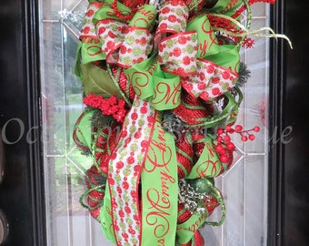 Christmas Door Swag, Christmas Wreath, Holiday Wreath, Christmas Decoration, Front door Wreath, Wreath for Door