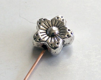 Antique Silver Flower Beads 10x5mm (16 pcs) MW-P1841