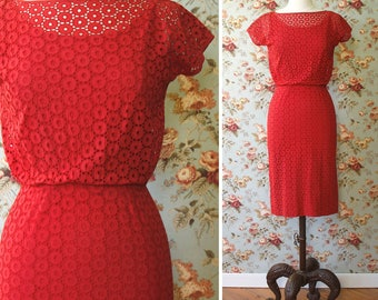 vintage 1960s dress <> 1960s red eyelet wiggle dress <> vintage Pat Hartly dress in circle eyelet <> 1960s cotton eyelet sheath dress