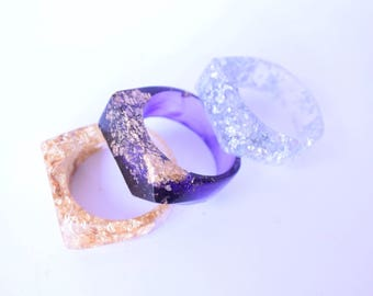 Resin Ring, Gold Silver Resin ring, Birthday gift, Gift for Him