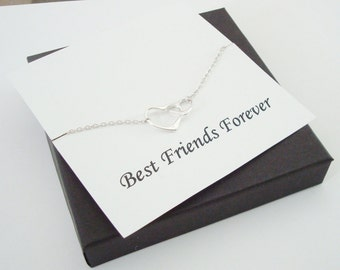 Interlocked Floating Hearts Silver Necklace ~Personalized Jewelry Gift Card for Sister, Best Friend, Sister in Law, Bridal Party, Graduation