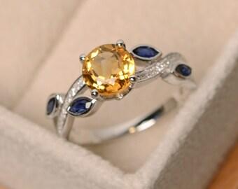 Citrine ring, quartz crystal ring, yellow citrine ring, yellow crystal ring, leaf ring, multistone ring, ring citrine