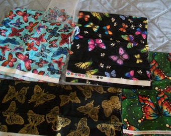 4 Different BUTTERFLY Fabrics Collection Cotton Michael Miller Yenter In the Beginning Beautiful -