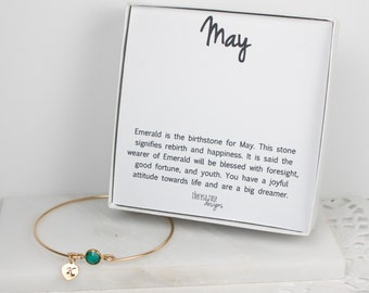 Personalized May Birthstone Gold Bangle Bracelet, Personalized Emerald Gold Bracelet, Emerald Bangle, May Birthstone Bracelet