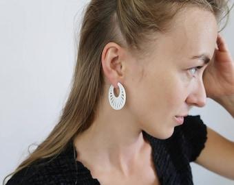 Vintage White Art Deco Hoop Earrings