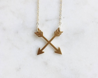 Simplistic Matte Gold Double Arrows Necklace on Delicate 14k Gold Filled Chain