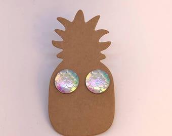 Mermaid stud earrings choose your colour