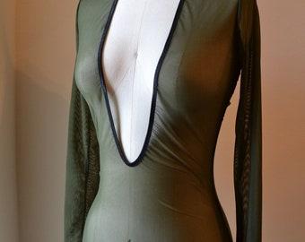 Deep V Open Back Bodysuit, Made to Order, Handmade Lingerie