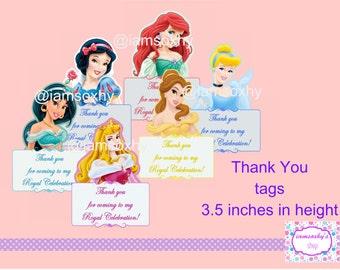 Disney princess DIGITAL (Ariel, Aurora, Snow White, Jasmine & Belle) thank you tags