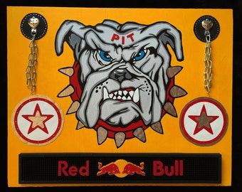 Pit Red Bull ....Recycled Mixed Media Wood Assemblage