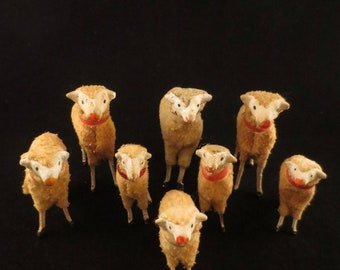 Instant Collection of Antique Wooly Putz Stick Leg Sheep