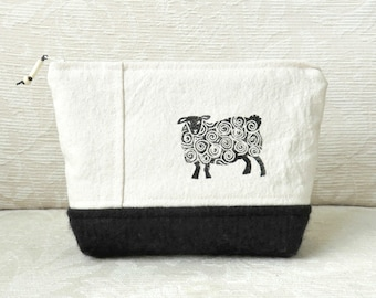 Sheep Zip Pouch No. 1, Hand Printed Fabric and Felted Wool Clutch