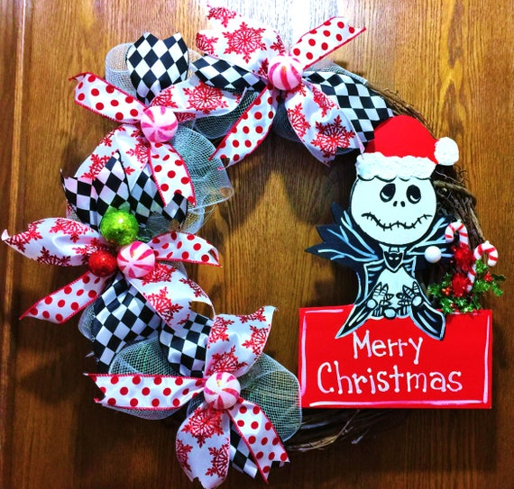 Jack Skellington Nightmare Before Christmas - Welcome Door Grapevine Wreath