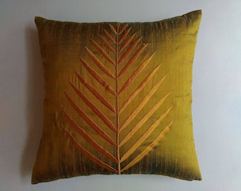 olive green dupioni silk leef embroideryded throw pillow. Fall session pillow decaretve moss green cushion cover. parm leef pillow. 18 inch.