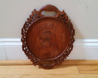 Vintage Carved and Etched Wood Tray