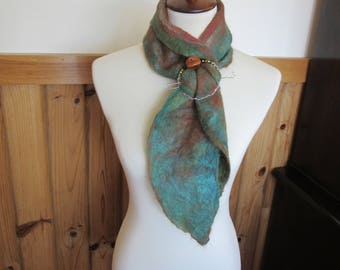 Alpaca Nuno Felted Scarf - Handmade From Alpaca and Other Fibers includes Handmade Scarf Ring/Pin Set