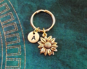 Sunflower Keychain VERY SMALL Gold Sunflower Keychain Flower Keychain Personalized Keychain Initial Keychain Bridesmaid Keychain Monogram