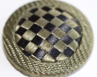 Fabric Button with Woven Pattern