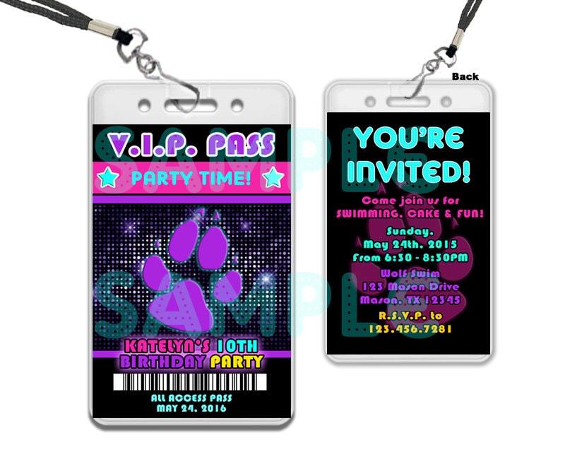 Pawty birthday invitation paw vip pass invitation girl zoom stopboris Images