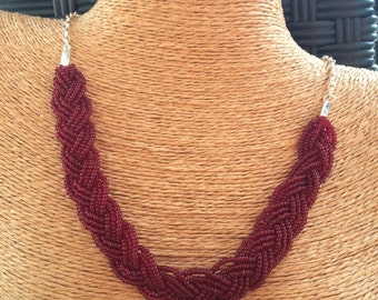Braided maroon necklace, maroon bib necklace, maroon statement, statement necklace, maroon bridesmaids, burgundy necklace, fall necklace,