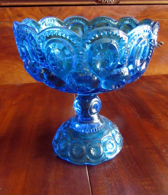 Footed compote  blue Moon and Stars Glass - L.E. Smith