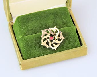 Antique Edwardian 10k Gold Pin | Antique Gold Starburst Brooch | Gold Edwardian Circle Brooch Pin