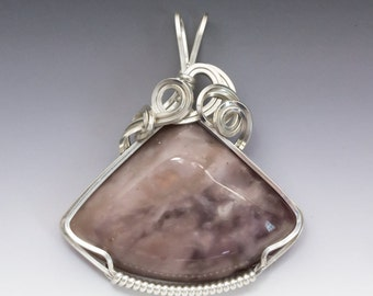 Burro Creek Purple Agate Sterling Silver Wire Wrapped Pendant - Ready to Ship!