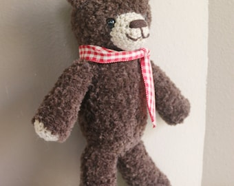 Crochet Fuzzy Brown Bear Stuffed Animal (Ready To Ship)