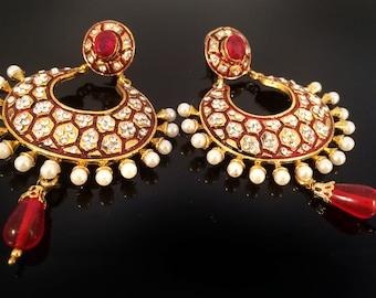 Red Enamel Earrings, kundan earrings,Red and Gold Chandelier Earrings,Indian Jewellery Lightweight post earrings,Pearl jewelry, by Taneesi.