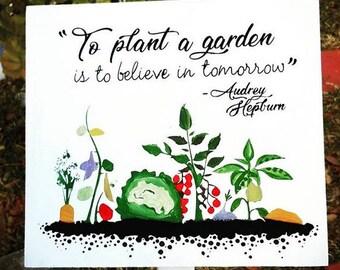 Garden sign, Audrey Hepburn Quote -  Handmade to Order