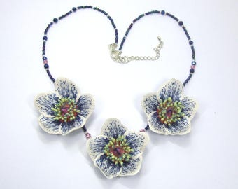 Hellebore Flower Necklace, hand made from Polymer Clay