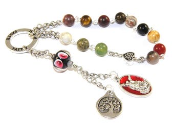 Meditation Prayer Beads, 12 Step Recovery  or General Use, St Michael Medal & Tree of Life