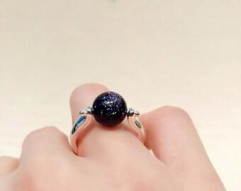 Blue Sandstone Ring, Gemstone Silver Ring
