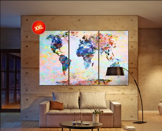 world map poster  print on canvas wall art Large world map poster print art artwork large world map Print home office decoration