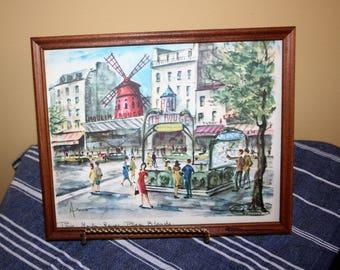 "Vintage Arno Moulin Rouge Art Print Framed Signed ""Arno Paris Moulin Rouge Place Blanche"" 1960's Paris Street Scene Water Color"