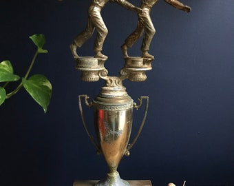 1960's Loving Cup New York State Doubles Bowling Champion Trophy On Wooden Base Made By Dodge
