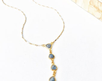 Lua Necklace Moonstone Labradorite Y Necklace