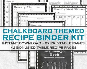 Chalkboard Printable Recipe Binder Kit - 29 Printable Pages! Instant Downloadable Letter Size PDF