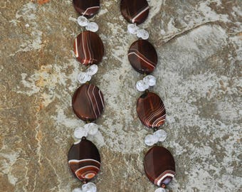 "Brown Agate ovals with faceted glass beads 36"" necklace"