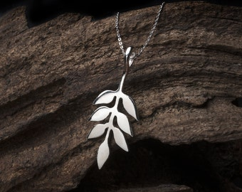Silver leaf pendant necklace sterling silver ash leaf sterling silver necklace silver leaf silver leaf necklace silver leaf pendant mozeypictures Image collections