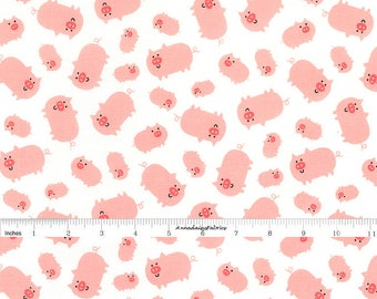 Pig Fabric, Farm Animal Quilt Fabric, Timeless Treasures Farmland C5918 White, Pig Quilt Fabric, Baby Fabric, Cotton, FQ